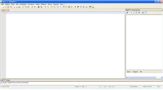 Окно для ftp Notepad++