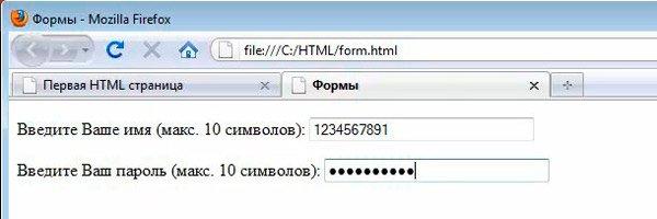 Так форма выглядит в браузере