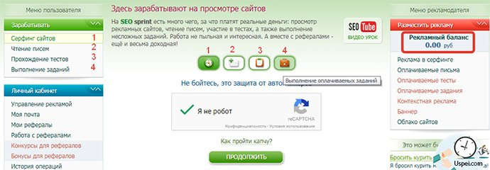 Виды заработка на seosprint.net