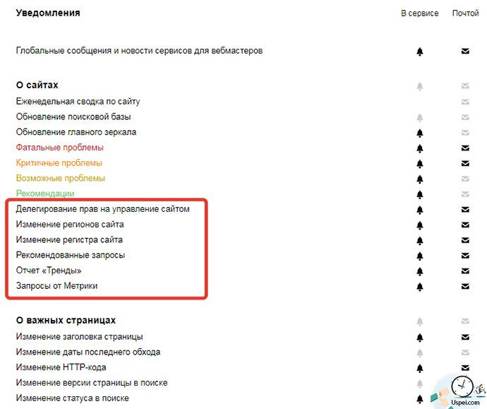 Новые уведомления в Яндекс вебмастере