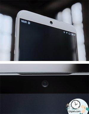 Фронтальная камера расположилась по центру, динамик утоплен в самый верх и его вовсе не видно, 2.5D-стекло с минимальными рамками справа и слева.