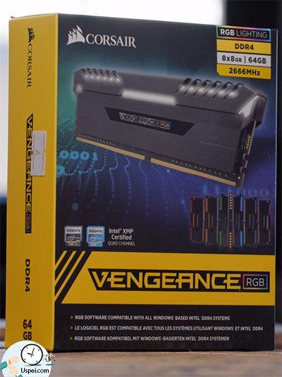 8 планок оперативной памяти Corsair Vengeance RGB.