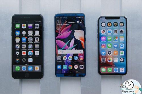 Mate 10 Pro меньше iPhone 8 Plus, больше iPhone X и толще обеих моделей.