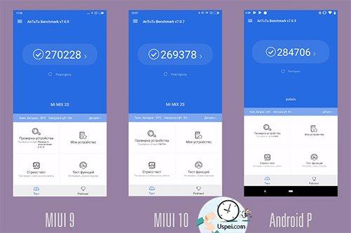 В AnTuTu MIX набирает 270тысячбалловна MIUI 9, на десятке это 269тысяч, а на android - 285 000.