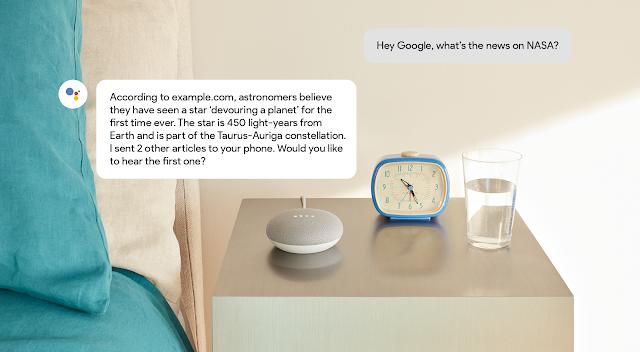 Google Ассистент отвечает выдержкой из статьи новостей и названия сайта