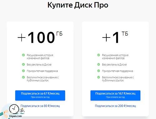 Яндекс.Диск - платная подписка вместо покупки гигабайтов