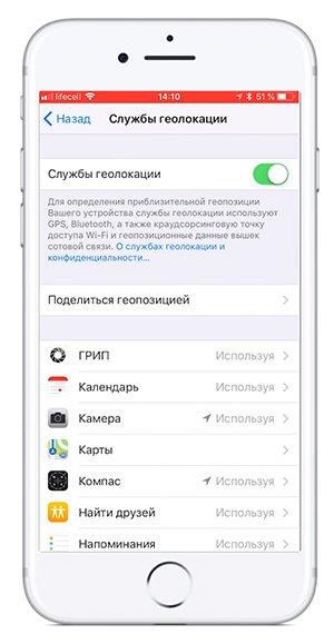 В iOS для этого откройте «Настройки», потом перейдите в «Настройки конфиденциальности и местоположения»