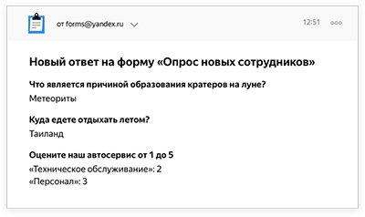 Ответы будут собираться в таблице, из которой легко получить нужную информацию