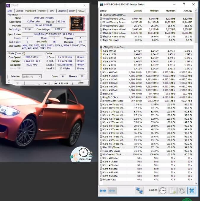 Intel i7-8086K - тест на BMW в Blender