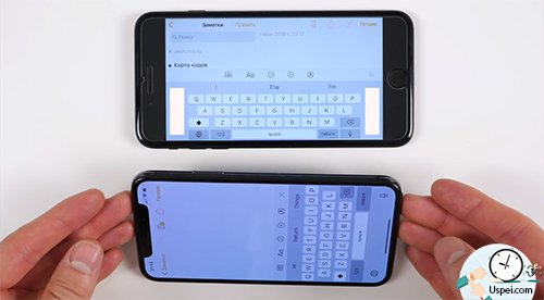 размеры дисплеев iPhone - альбомная ориентация клавиатуры
