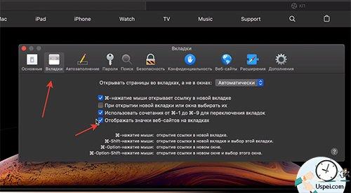 Mac OS Mojave - иконки сайтов в Сафари