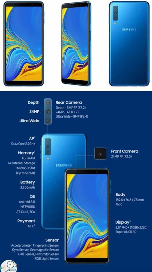 Новый смартфон Samsung Galaxy A7 с тремя камерами
