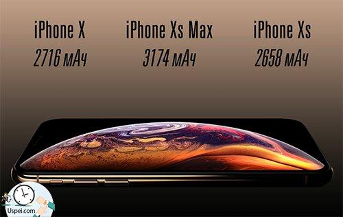 XS работает на полчаса дольше, чем десятка, X S Max на полтора часа