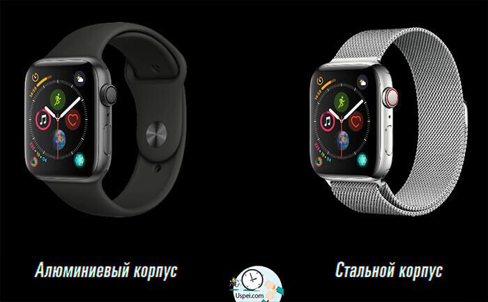 Apple Watch Series 4 - алюминиевый и стальной корпус