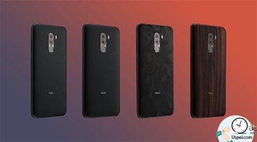 Xiaomi Pocophone F1 - накладки в виде кожи и дерева