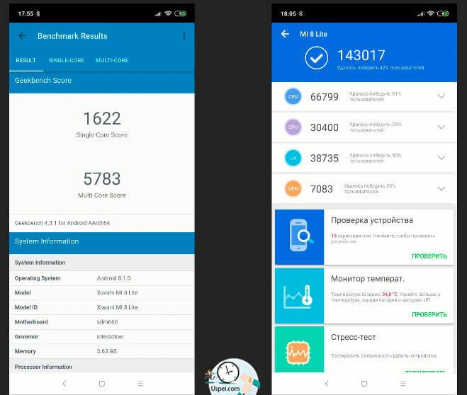 Xiaomi Mi 8 Lite - В AnTuTu и Geekbench результаты тоже крайне хорошие