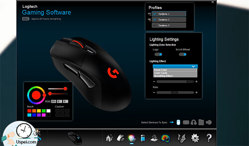 Logitech Lightspeed G703 Есть свой софт, универсальный для всех игровых устройств Logitech