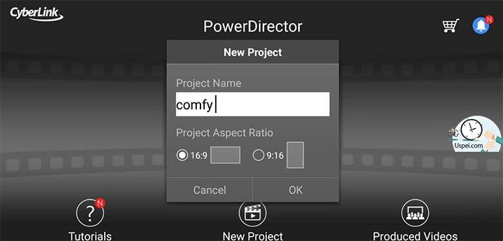 PowerDirector - создание проекта одним нажатием