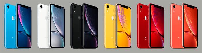 iPhone XR имеется у нас в 6 расцветках: красный, коралловый, синий, желтый, черный или белый