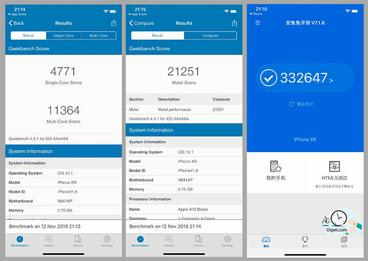 Обзор iPhone XR: 21 200 баллов в тесте Metal. В AnTuTu цифра вообще сумасшедшая – 332 000