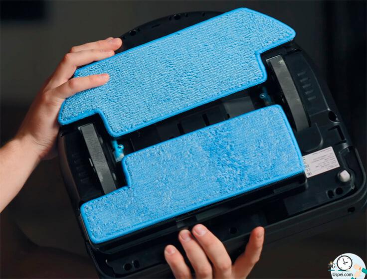 В роботе установлены специальные сменные салфетки для влажной уборки и специальные щетки, которые работают в труднодоступных местах