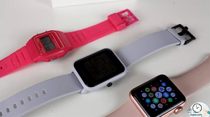 Xiaomi Huami Amazfit Bip  в сравнении с детскими и с Apple Watch