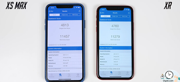 Результаты синтетических тестов Geekbench и Antutu на iphone XS Max и XR