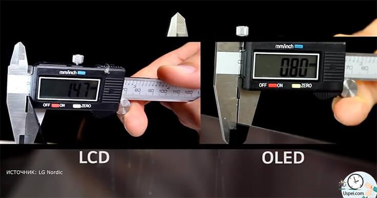QLED-экран - матрица стала тоньше, меньше миллиметра