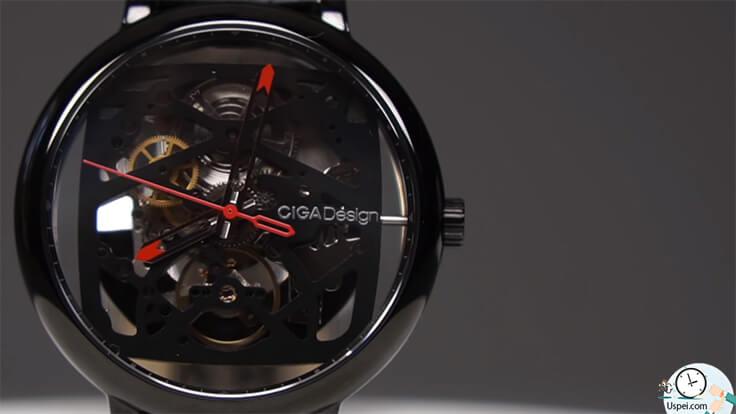Механические часы скелетоны Xiaomi Ciga Design Creative - черные с красной стрелкой