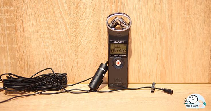 рекордер Zoom H1 и подключенный к нему микрофон аудиотехника