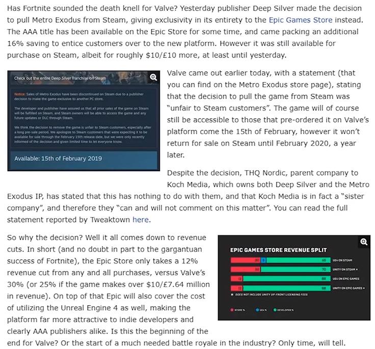 Metro Exodus стали эксклюзивом в Epic Games Store