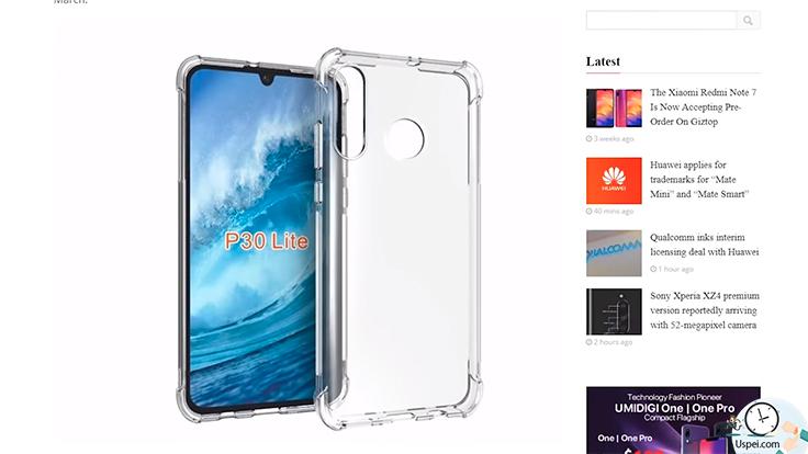 Утекли данные про новый смартфон Huawei P30 Lite
