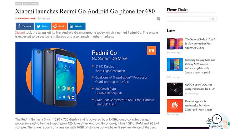 Xiaomi выпускает ультрадешевый смартфон Redmi GO