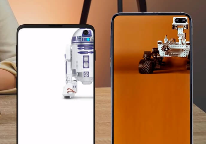 Сравнение Samsung S10e и iPhone XR - на днях в социальных сетях появились смешные обои, в которых вырезы под камеры в линейке S10 гармонично вписываются в картинку