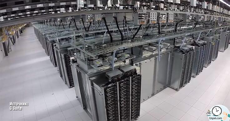 А вот один из крупнейших дата центров, который обрабатывает и хранит петабайты данных, в том числе наши фото на гугл драйве.
