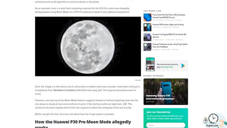 Подменяет ли Huawei P30 Pro фотографии луны