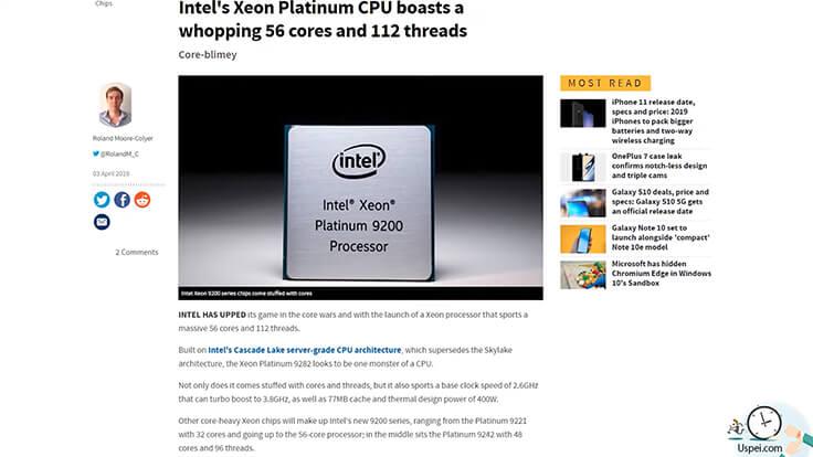 Intel показала новый чип Xeon с 56 ядрами