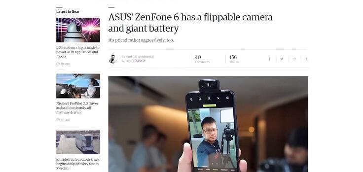 И здесь Zenfone 6 мало чем отличается