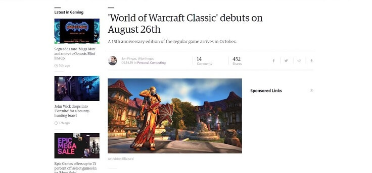 26 августа в Штатах и Британии запустится World of WarCraft Classic
