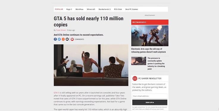 GTA V достигла отметки 110 миллионов проданных копий