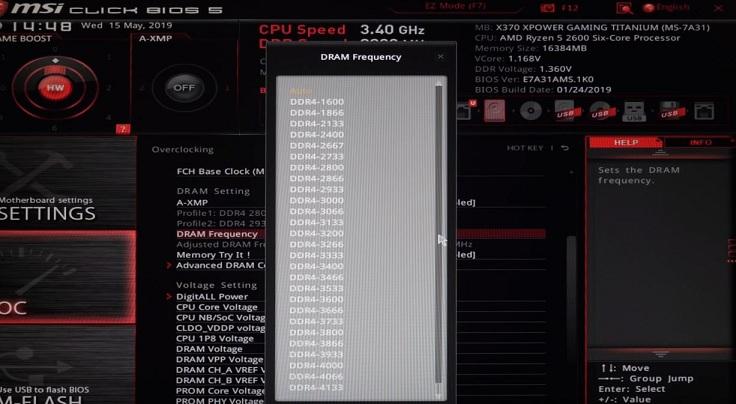 В Overclocking settings находим пункт DRAM Frequency и вводим нужную нам частоту