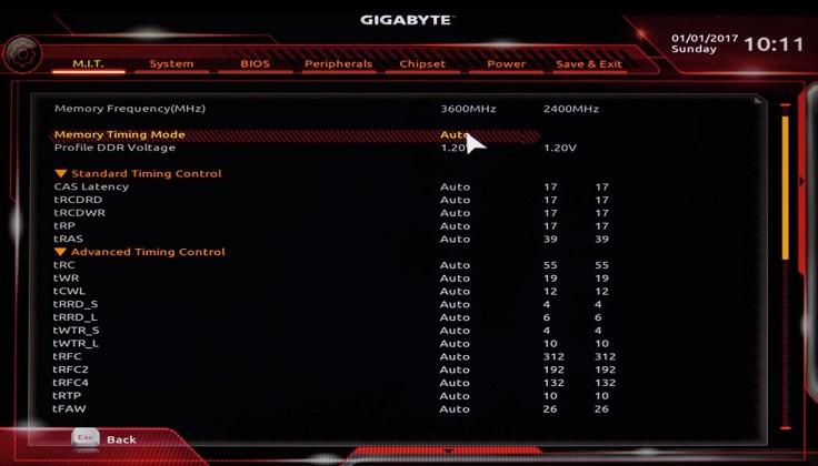 Для изменения таймингов нужно перевести параметр Memory timing mode в режим Manual
