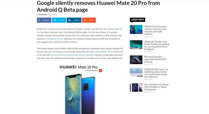 Microsoft тихонько убрала ноутбуки Huawei из своего магазина, та же Google втихаря стерла P20 Pro из списка смартфонов