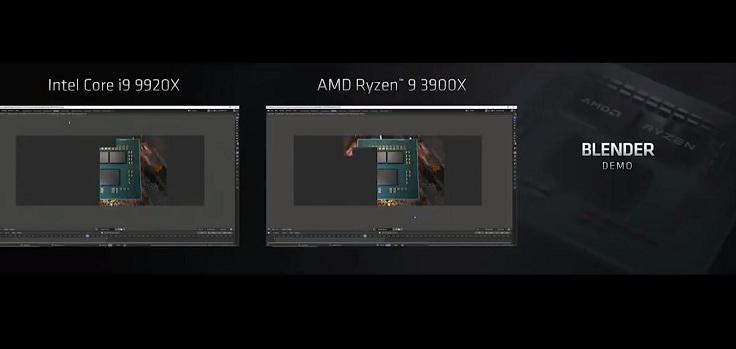 AMD Ryzen 9 3900Xна 60% быстрее, чем Intel Core i9−9900K в тесте Cinebench R20