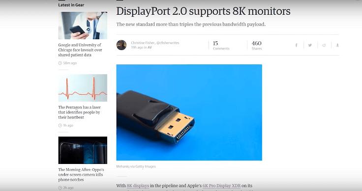 Опубликовано описание нового стандарта DisplayPort 2.0