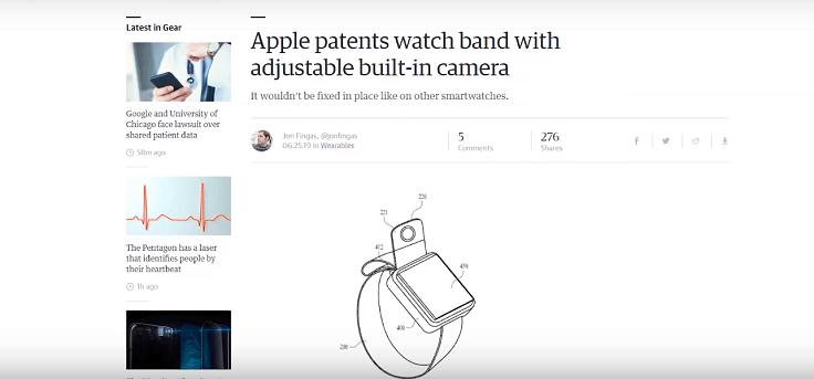 Apple патентует камеру в ремешке смарт-часов