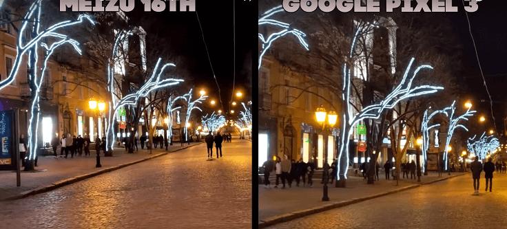 Ночные видео с обоих смартфонов крутые