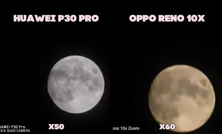 на Луне можно заметить кратеры, что смотрится реально круто