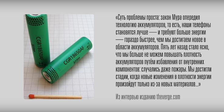 Плотность литий-ионных батарей не увеличивается по закону Мура