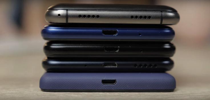 У всех смартфонов разъем microUSB для зарядки